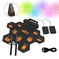 GosCrazy Beginners Electronic Drum Set, 9 Pads Portable Electric Drum Kit with Headphone Jack, F ...