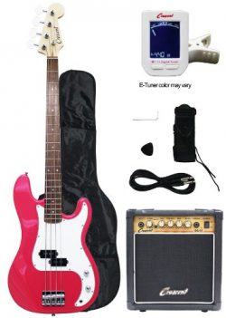 Crescent Electric Bass Guitar Starter Kit – Pink Color (Includes Amp & CrescentTM Digi ...