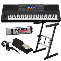 Yamaha PSR-SX700 Arranger Workstation Keyboard with Heavy-Duty Z-Stand, Pedal, and Flashdrive