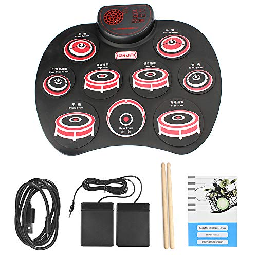 QStyle Portable Electric Drum Set,Foldable Roll Up Electronic Drum Set Pad with Speakers for Adu ...