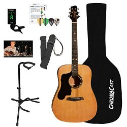 Sawtooth Left-Handed Acoustic Dreadnought Guitar with Black Pickguard & ChromaCast Accessori ...