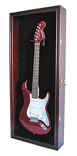 Electric Guitar Display Case Cabinet Shadow Box with Hanger, Lockable UV Protection Door (Mahoga ...