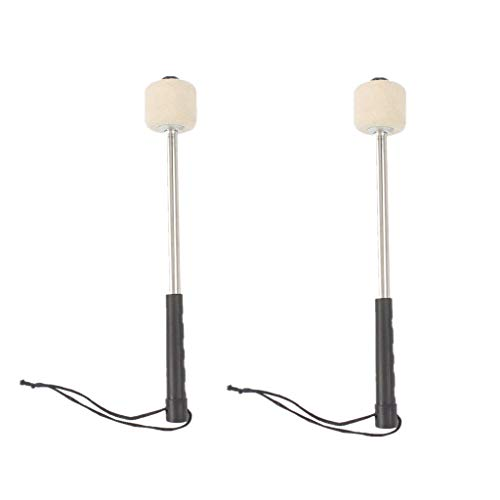 2 Pieces White Felt Head Percussion Mallets Timpani Sticks with Stainless Steel Handle suit for  ...