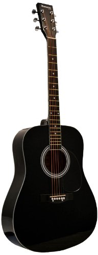 Huntington GA41PS-BK  Acoustic Guitar Dreadnaught Steel String with 1 String Winder, 2 String Se ...