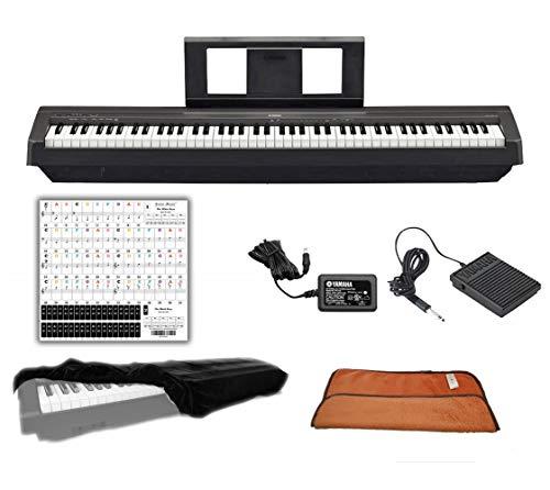 Yamaha Keyboard P45 Black 88 Weighted Keys Digital Piano Bundle with Juliet Music Piano Dust Cov ...