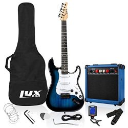 LyxPro 39 inch Electric Guitar Kit Bundle with 20w Amplifier, All Accessories, Digital Clip On T ...