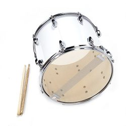 UNISS White 14 x10 inches Marching Snare Drum set with Drum sticks Key and Strap