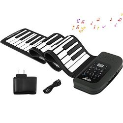 Roll Up Piano Keyboard, KONIX 61 Keys Electric Piano Keyboard – Support MIDI Out Portable  ...