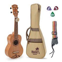Hola! Music HM-121GL+ Laser Engraved Mahogany Soprano Ukulele Bundle with Aquila Strings, Padded ...