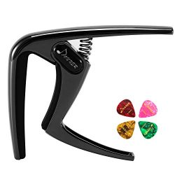 Donner Guitar Capo DC-3 for Acoustic and Electric Guitar Ukulele Banjo Mandolin Black With Picks