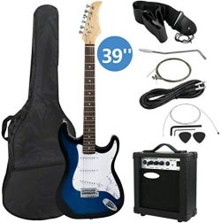 Smartxchoices 39″ Electric Guitar Full Size Blue Beginner Guitar with 10W Amp, Case and Ac ...