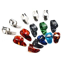 KEWAYO 15 Pieces Guitar Finger Picks, Stainless Steel Celluloid Thumb Finger Guitar Picks with S ...