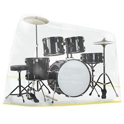 Drum Set Cover(105″x144″), Clear Drum Accessories, Electric Drum Kit Cover with Wate ...