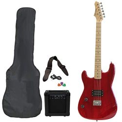 Left Handed Davison Red Electric Guitar Package With Amp Case Picks And Strap