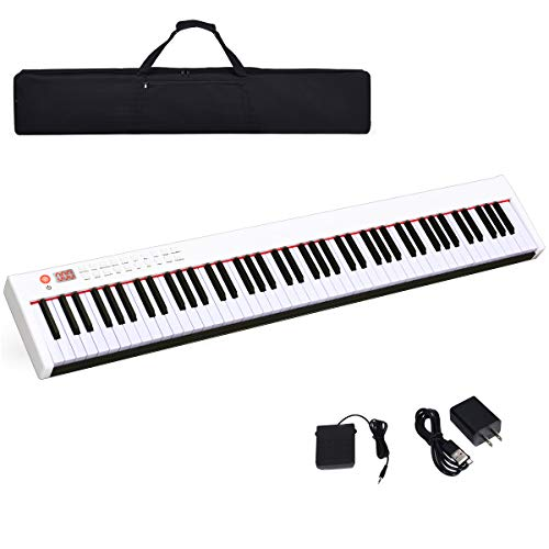Costzon BX-II 88-Key Portable Touch Sensitive Digital Piano, Upgraded Electric Keyboard with MID ...