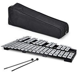 Giantex Foldable Glockenspiel Xylophone 30 Note, with Wood Base and 30 Metal Keys, 2 Rubber Mall ...