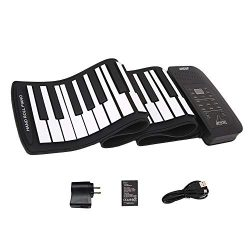 Roll up piano portable 61 key soft elastic electronic music keyboard piano built-in loudspeaker  ...