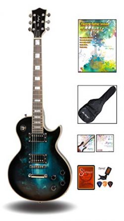 Leo Jaymz 24.75″ Single Cut Curved Top Electric Guitar – with Gothic Graphic Design  ...