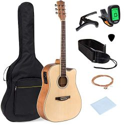 Best Choice Products 41in Full Size Acoustic Electric Cutaway Guitar Set w/Capo, E-Tuner, Bag, P ...
