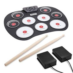 Portable Electronic Drum, VAlinks 9 Keys Electronic Drum Set Pad Foldable Roll Up Drum Practice  ...