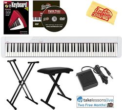 Casio Privia PX-S1000 88-Key Digital Piano – White Bundle with Adjustable Stand, Bench, Su ...