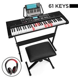 Best Choice Products 61-Key Beginners Complete Electronic Keyboard Piano Set w/LCD Screen, Light ...
