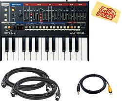 Roland JU-06A Boutique Synthesizer Bundle with 2 MIDI Cables, Auxillary Cable, and Austin Bazaar ...