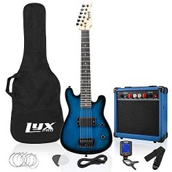 LyxPro 30 Inch Electric Guitar Starter Kit Bundle for Kids with 3/4 Size Beginner's Guitar ...