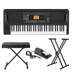 Korg EK-50 Entertainer Keyboard with Knox Adjustable X Style Keyboard Bench, Adjustable Keyboard ...