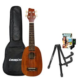 Sawtooth ST-UKE-MPS-KIT-2 Mahogany Pineapple Ukulele with Quick Start Guide, Stand, Gig Bag & ...