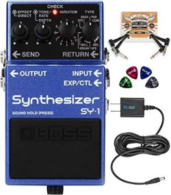 BOSS SY-1 Polyphonic Synthesizer Effects Pedal Bundle with Blucoil Slim 9V 670ma Power Supply AC ...