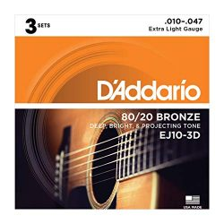 D'Addario EJ10 Bronze Acoustic Guitar Strings, Extra Light, 10-47, 3 Sets (EJ10-3D)