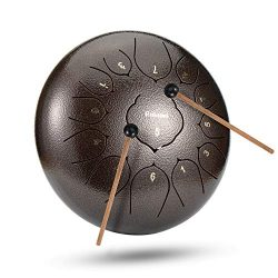 12 Inch 13 Note Steel Tongue Drum Percussion Instrument Lotus Hand Pan Drum with Drum Mallets Ca ...