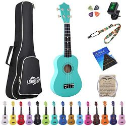 Esound 21 inch Soprano Ukulele Basswood Acoustic Mini Guitar for Beginner Kid Starter with Case  ...