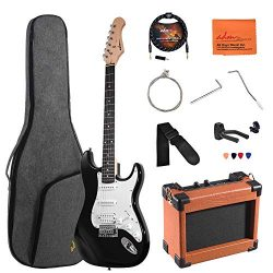 ADM Electric Guitar Beginner Kit 39 Inch Full Size Sunburst, Starter Package with Amplifier, Bag ...