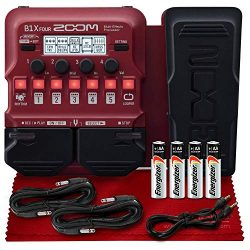 Zoom B1X Four Bass Multi-Effects Pedal with Expression Pedal w/ 9 Amp Models, 70 Onboard Effects ...