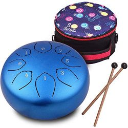 Steel Tongue Drum 6 inches 8 Notes Percussion Instrument C-Key Handpan Drum with Bag,Couple of M ...