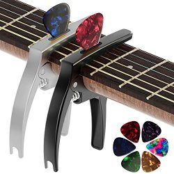 Guitar Capo, 2 Pack TANMUS 3in1 Universal Zinc Metal Capo for Acoustic and Electric Guitars (wit ...