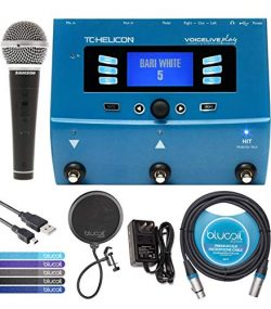 TC Helicon VoiceLive Play Vocal Effects Pedal Bundle with 12V 400mA DC Power Supply, Samson R21S ...