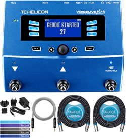 TC Helicon VoiceLive Play Vocal Effects Pedal Bundle with 12V 400mA DC Power Supply, Blucoil 2-P ...