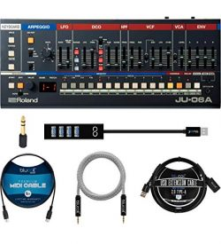 Roland JU-06A Synthesizer Module and USB Audio Interface Bundle with Blucoil Type-A Hub, 5′ ...