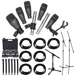 Samson DK707 7-Piece Drum Microphone Kit + Tripod Base Mic Boom Stand + Ultimate Low-Level Tripo ...