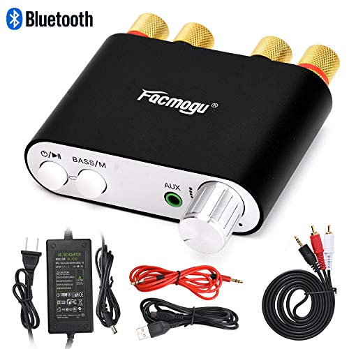 S800 100W Bluetooth Audio Amplifier DC 12 Volt with Power Supply 12V 5A, 50W + 50W Dual Channels ...