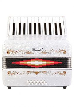 Rossetti Beginner Piano Accordion 12 Bass 25 Keys White