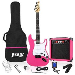 LyxPro 39″ inch Full Size Electric Guitar with 20w Amp, Package Includes All Accessories,  ...