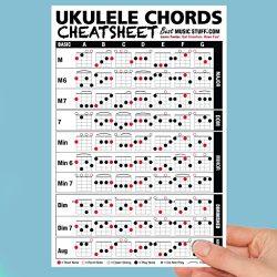 Ukulele Chords Cheatsheet Laminated and Double Sided Pocket Reference (LARGE – 6×9)