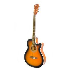 Acoustic-Electric Grand Auditorium Guitar – 40″ 6 String Linden Wood Slim Body Cutaw ...