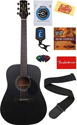 Jasmine S35 Acoustic Guitar – Matte Black Bundle with with Strings, Strap, Tuner, Picks, D ...