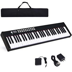 Costzon BX-II 61-Key Portable Touch Sensitive Digital Piano, Electric Keyboard W/MIDI & Blue ...