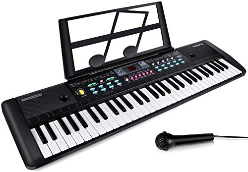 CHUYANG 61 Keys Keyboard Piano, Electronic Digital Piano with Built-In Speaker, Microphone, Shee ...